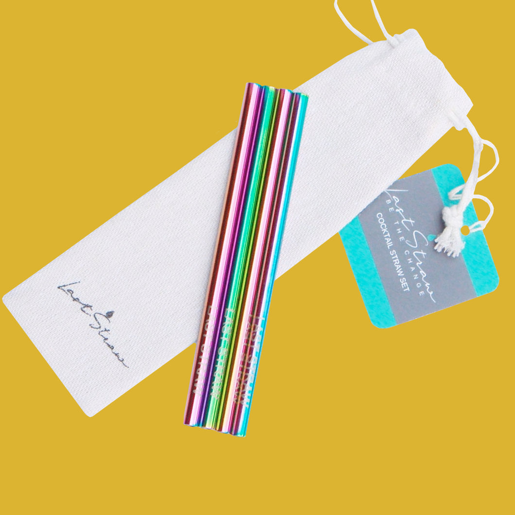 Rainbow Cocktail Stainless Steel Metal Straw Set