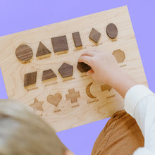 Load image into Gallery viewer, Wooden Shapes Board with Matching Shape Pieces