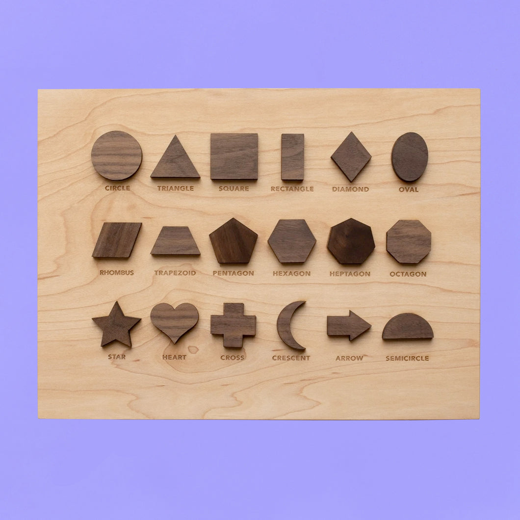 Wooden Shapes Board with Matching Shape Pieces