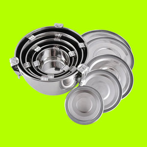 Set of 5 Nestable Stainless Steel Round Airtight Watertight Containers - Small / Medium