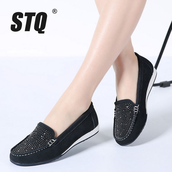 16597ef536da STQ 2019 Spring women ballet flats shoes leather suede slip on loafers  shoes women flat shoes