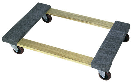 Open deck wood dolly with carpeted ends