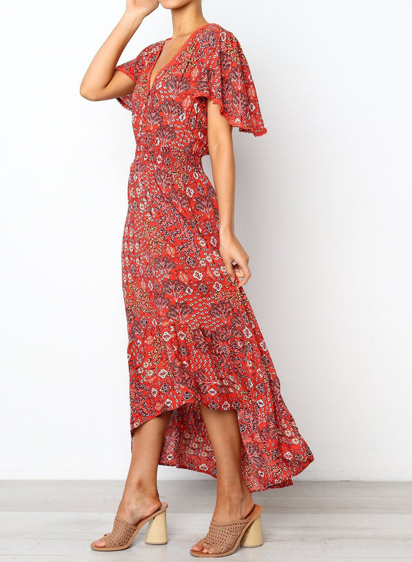 Short Sleeve Button Frilled Floral Maxi Dress