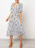 V Neck Waist Drawstring Printed Midi Dress