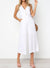 White V Neck Front Top Button Jumpsuit