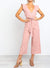 Waist Tie Short Ruffle Sleeves Jumpsuit