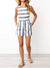 Round Neck Waist Fit Striped Playsuit