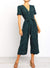 V Neck Button Down Front Polka Dot Jumpsuit