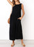 Side Pockets Low Back Jumpsuit In Black