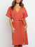 V Neck Waist Tie Midi Dress In Rust