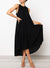 Frill Neckline Sleeveless High-low Hem Dress