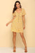 Yellow V Neck Button Front Frill Dress