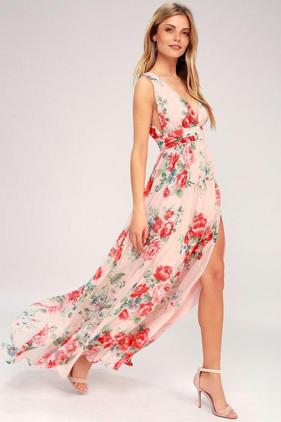 GARDEN MEANDERING BLUSH FLORAL PRINT MAXI DRESS