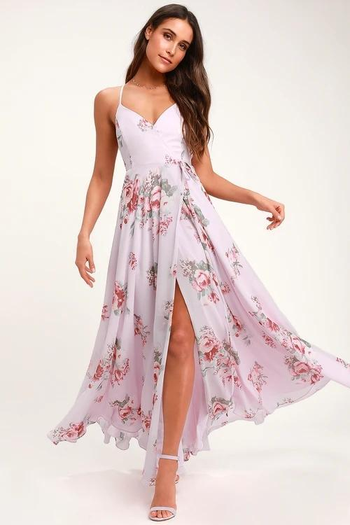 ELEGANTLY INCLINED LAVENDER FLORAL PRINT WRAP MAXI DRESS