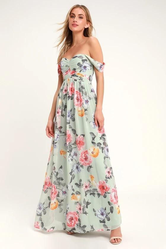 HARMONIOUS LOVE MINT FLORAL PRINT OFF-THE-SHOULDER MAXI DRESS