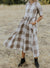 Casual A-line Plaid Midi Dress Women-Dresses- OrTrend