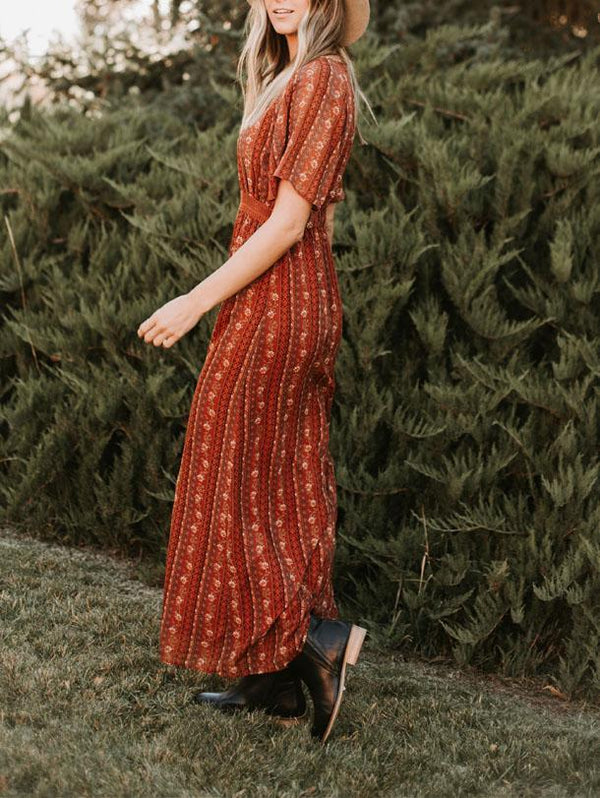 Long Stripe Printed Red MAXI Dress - OrTrend