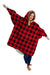Red Plaid Oversized Comfortable Blanket Sweatshirt