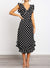 V-Neck Ruffle Sleeve Polka Dot Print Midi Dress