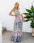 Backless Floral Tiered Halter Maxi Dress