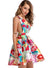 Women's Deep V Neck Backless Floral Printed Mini Dress