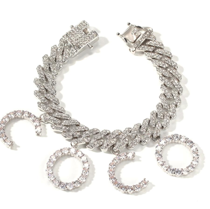 Cuban Diamond Charm Bracelet