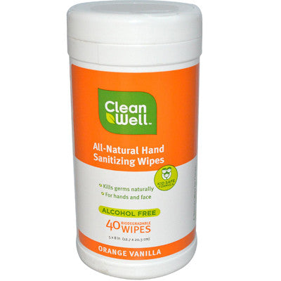 CleanWell All-Natural Hand Sanitizing Wipes Orange Vanilla - 40 Wipes