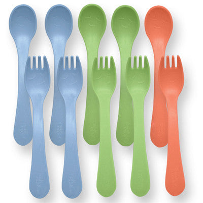 Green Sprouts Toddler Forks and Spoons Sets - Stage 4/5 - Boys Assorted Colors - 5 Sets