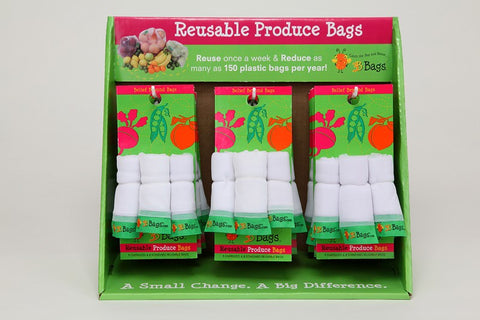 Produce Bag, Reusable, 3 bags per Pack.  This multi-pack contains 2 packs.