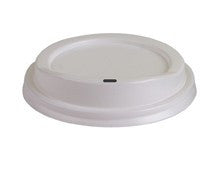 White Plastic Hot Cup Lid, fits 8 oz, 1000 per case.