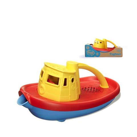 Green Toys Tugboat with Yellow top