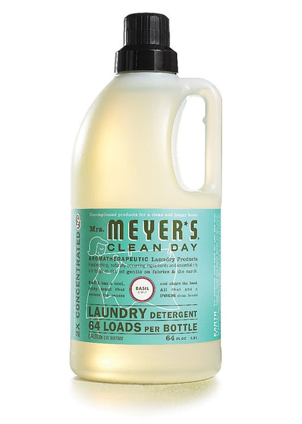Mrs. Meyers Clean Day Laundry Detergent 64 Loads, Basil, 64 oz