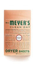 Mrs. Meyers Clean Day Dryer Sheets, Geranium, 80 sheets per box.