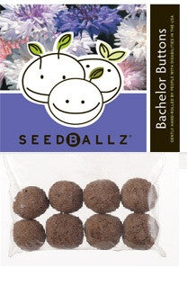 SeedBallz, Bachelor Buttons, 8 balls per pack.