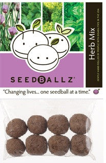 SeedBallz, Herb Mix: Basil, Parsley, Chive, Cilantro, 8 balls per pack.