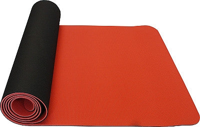 thinksport Safe Yoga Mat, 24 in x 72 in x 1/5 in, Color: black/coral orange