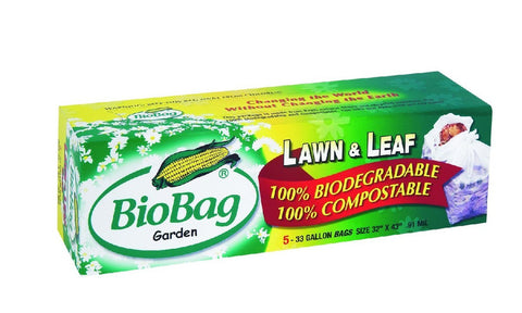 Lawn & Leaf Bio Bags 33 Galon, FULL CASE (5 bags per box, 12 boxes per case)
