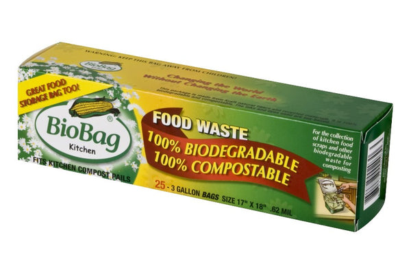 Food Waste Bio Bags 3 Galon, FULL CASE (25 per box, 12 boxes per case)