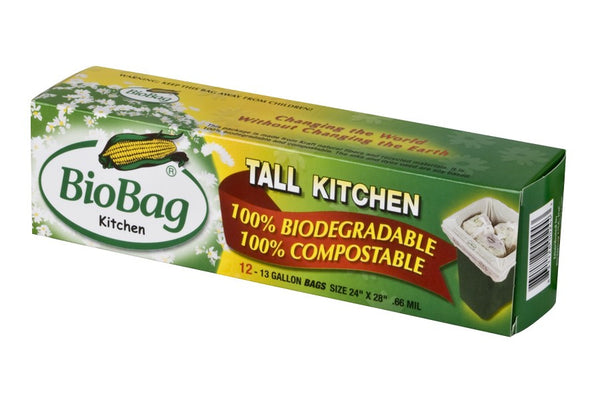 Tall Kitchen Bio Bags 13 Gallon, FULL CASE (12 Bags per Box, 12 Boxes per Case)