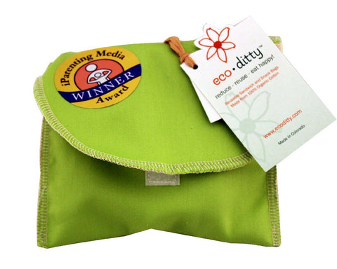 Snack Ditty organic snack bag, Spring Green (solid).