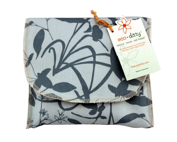 Snack Ditty organic snack bag, Whispering Grass Aqua.