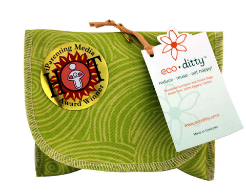 Snack Ditty organic snack bag, Let it Grow Green.