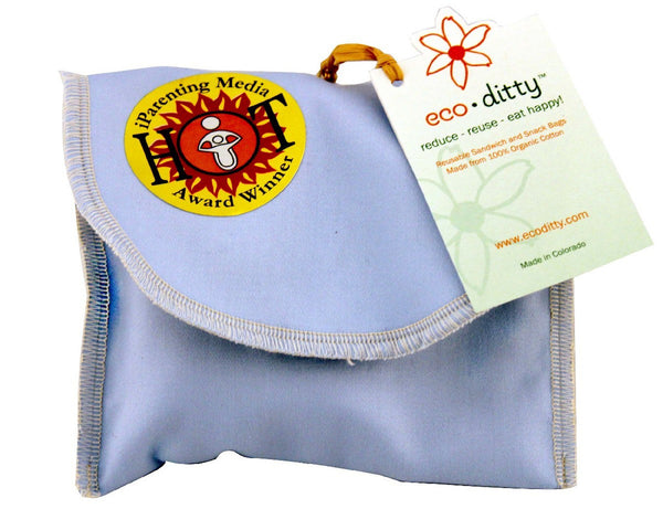 Snack Ditty organic snack bag, Powder Blue (solid).