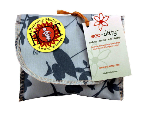 Wich Ditty organic sandwich bag, Whispering Grass Aqua.