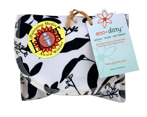 Snack Ditty organic snack bag, Whispering Grass Black/White.