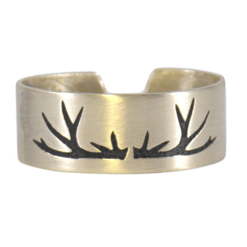 Antlers Adjustable Ring, Antique Brass, daphne lorna