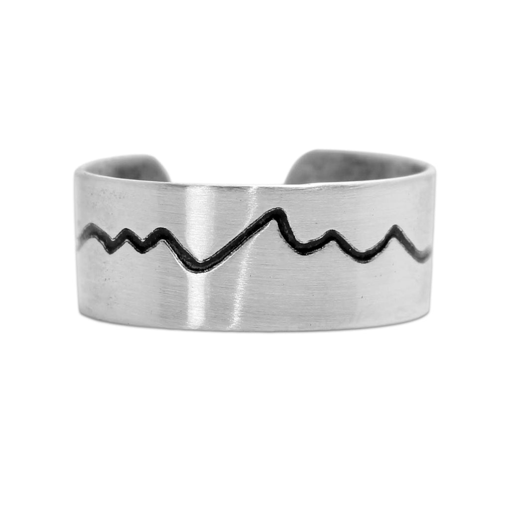 Simple Mountain Adjustable Ring, Matte Silver, daphne lorna