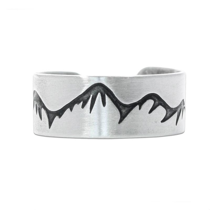 Snowcaps Adjustable Ring, Matte Silver, daphne lorna