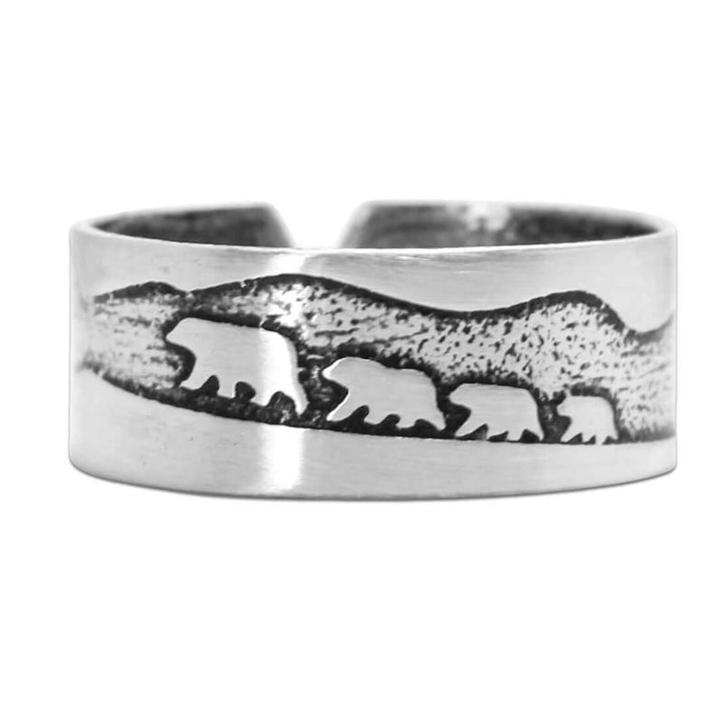 Bears on a Hike Adjustable Ring, Matte Silver, Daphne Lorna