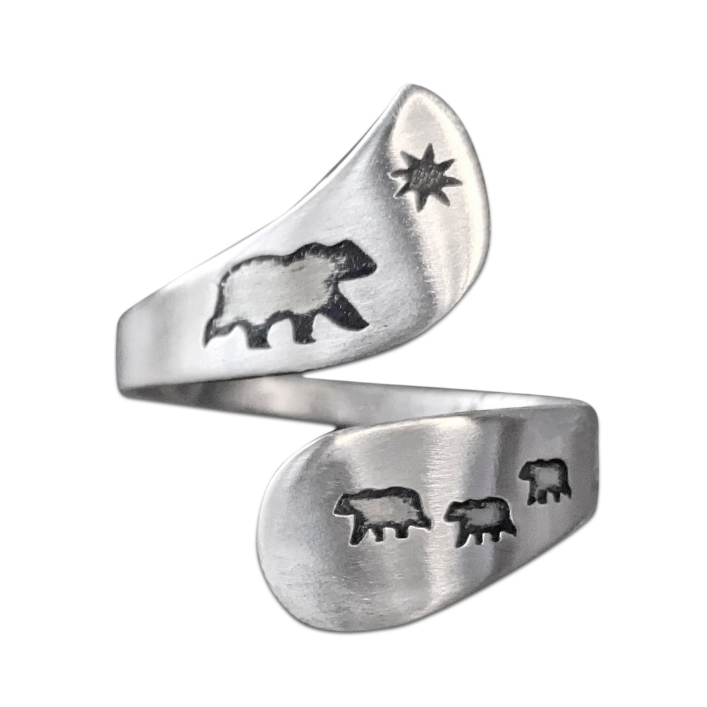 Mama and Cubs Adjustable Ring, Matte Silver, daphne lorna